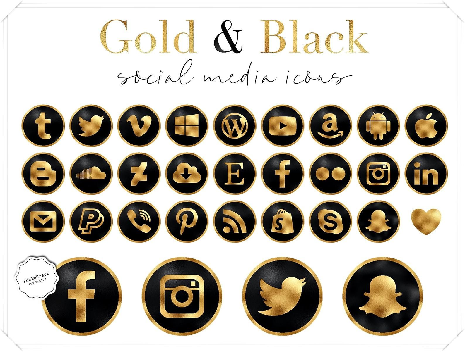 Black and gold social media icons Luxury social icons