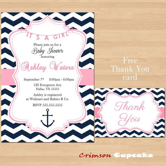 Items Similar To Printable Chevron Girl Pink Navy Baby Shower Nautical  Invitation Its A Girl Free Thank You Card On Etsy
