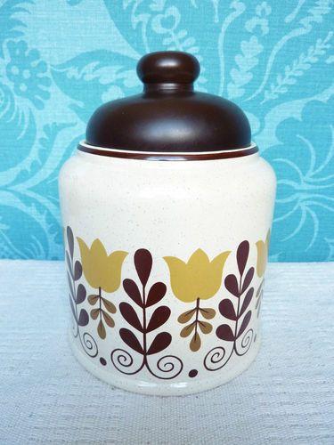 retro seventies large storage jar brown mustard floral design coffee food