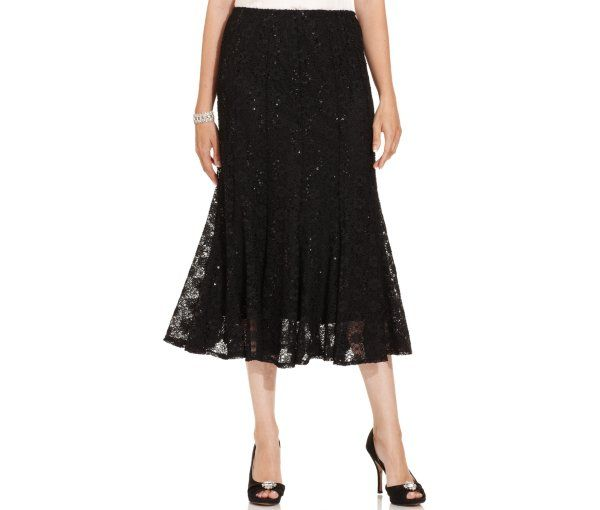 Onyx Sequined Lace Midi Skirt Skirts Women Macy S