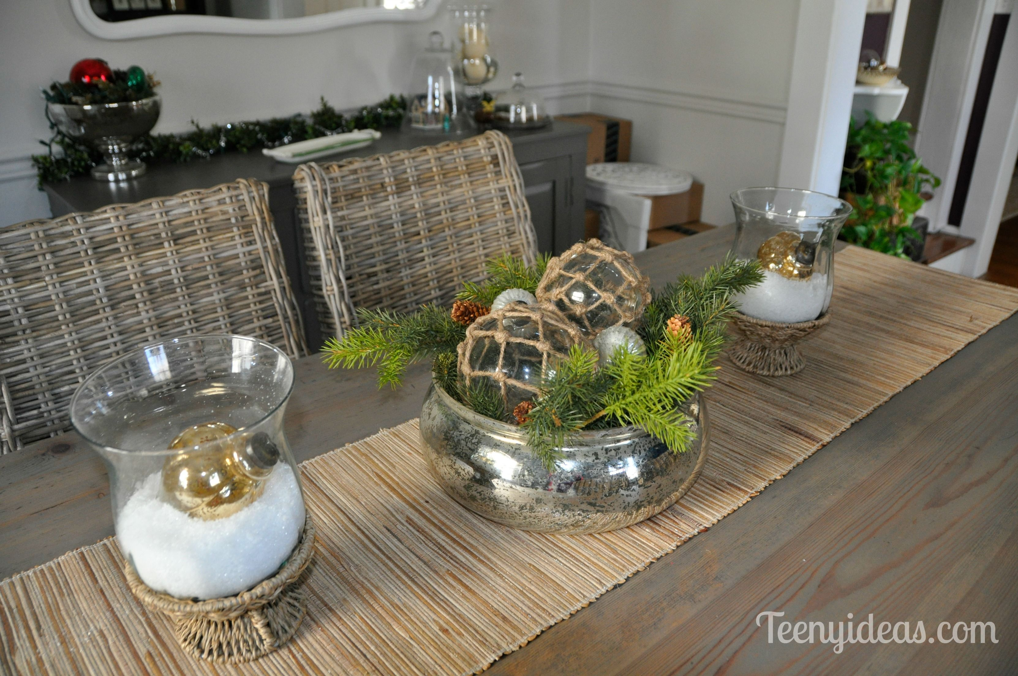 Christmas Dining Table Centerpiece Mercury Glass Bowl With Green