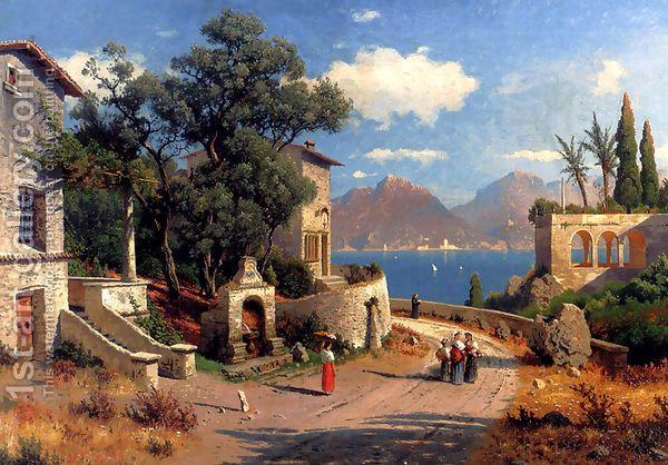 Simple Elegant An Italian Village By A Lake by Carl Gustav Rodde Beautiful - Inspirational lake painting Beautiful