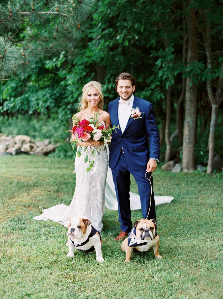 A blogger gets married with her english bulldogs in tow floral