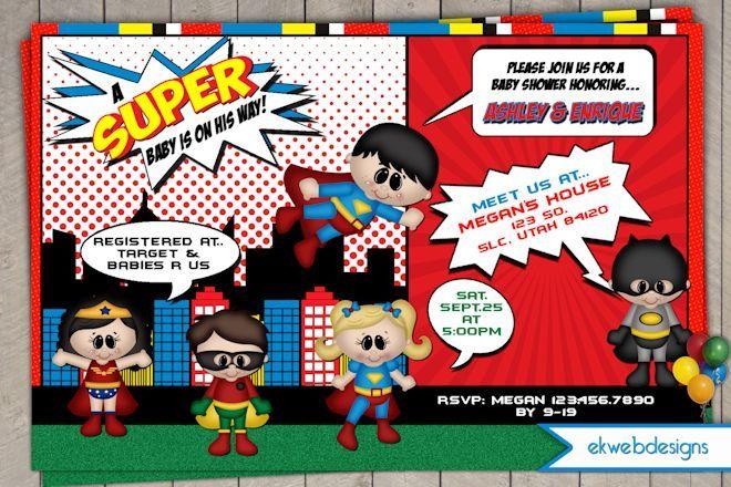 Superhero Baby Shower INVITATION2 Baby Shower Invitations