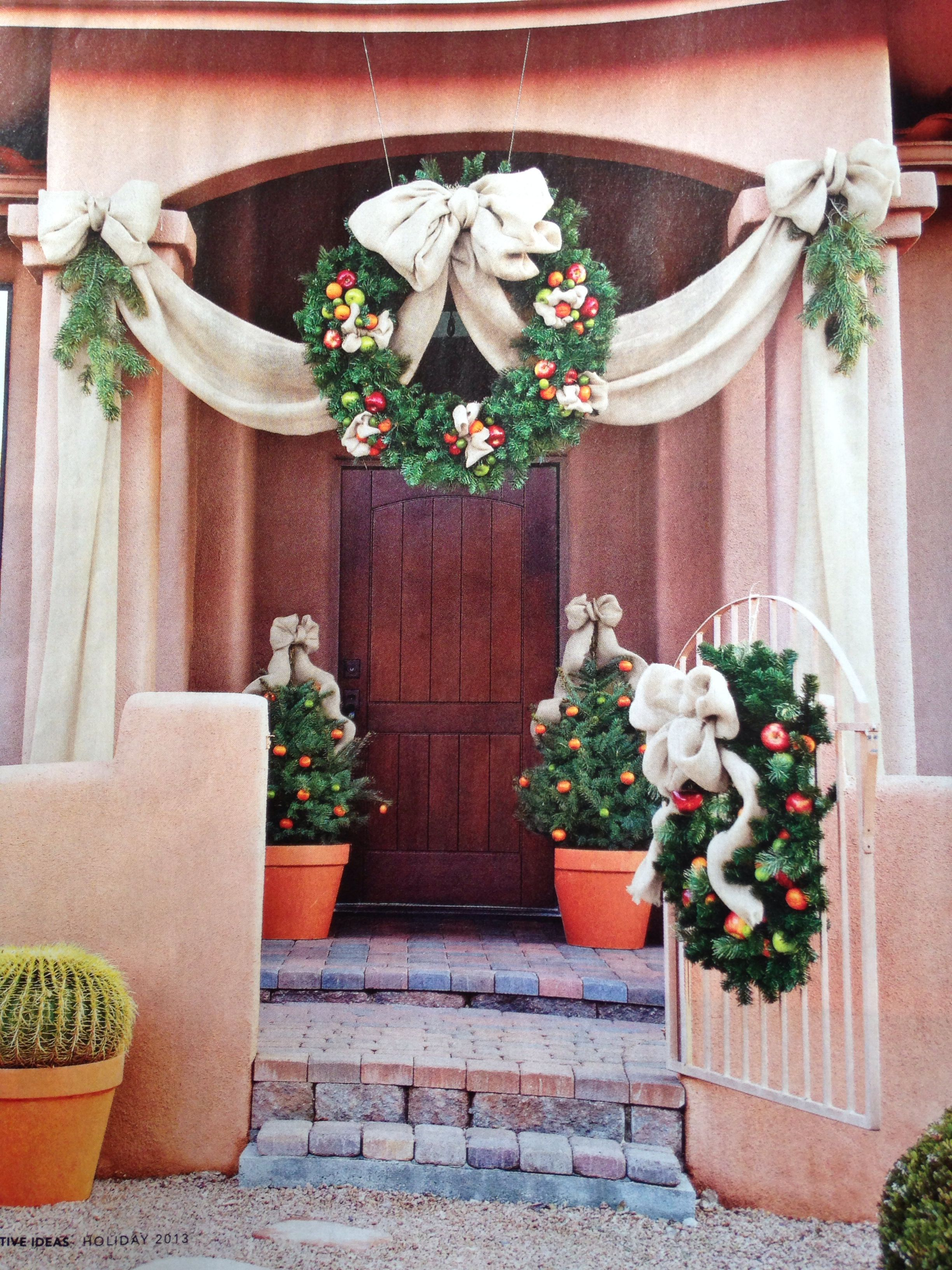 Front door wreath with a twist wreath holidays christmas burlap