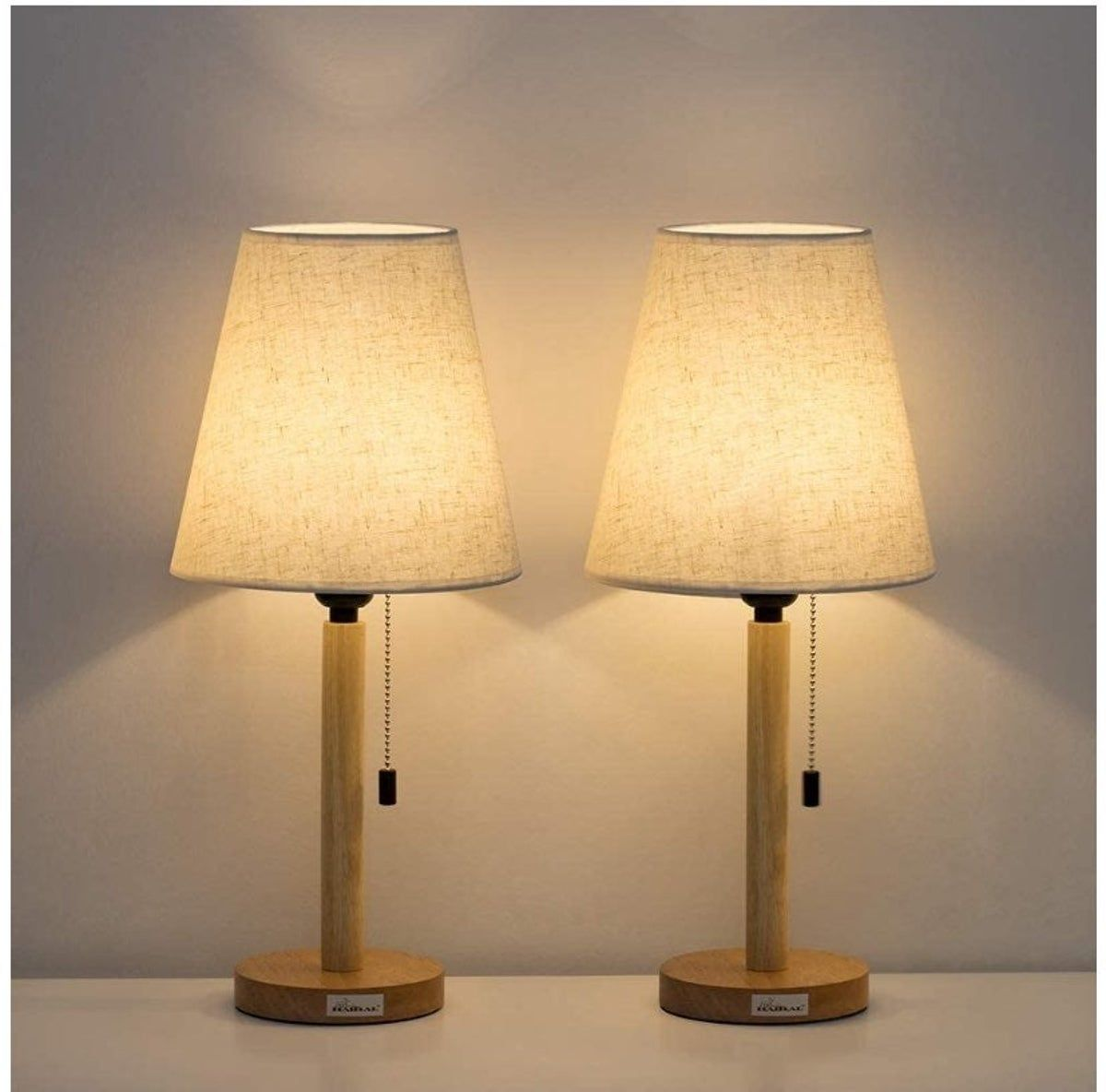Table Lamp Set Of 2 With Wooden Base Table Lamp Wooden Table Lamps Modern Nightstand Lamps