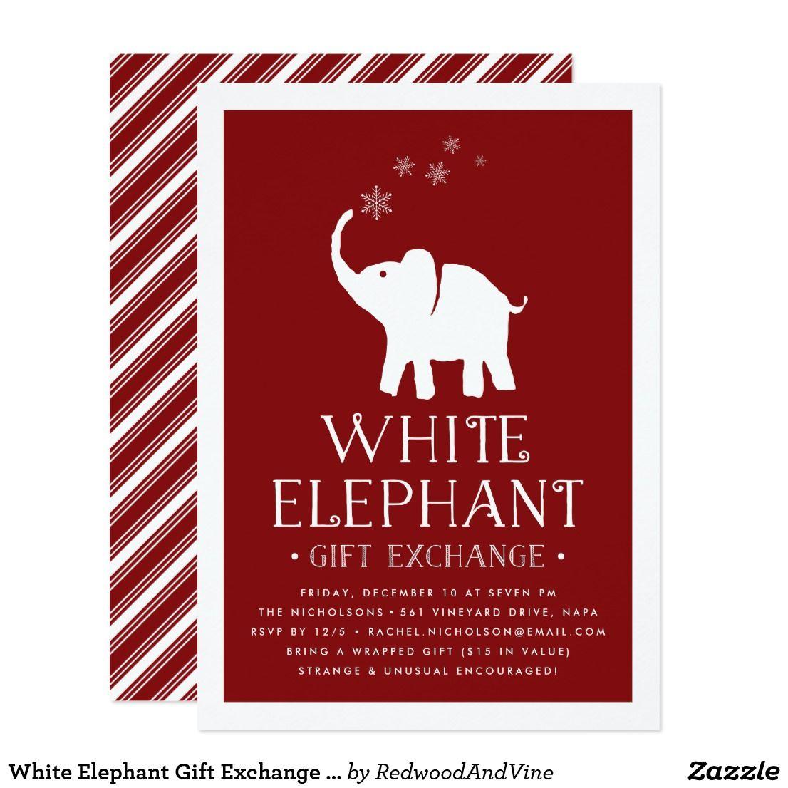 White Elephant Gift Exchange Party Invitation   Zazzle.com   White ...