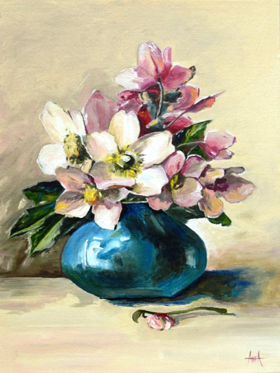 Anemone Bouquet Japanese Anemone Nature Morte Flowers Flowers Bouquet Oilpainting Abstractflowers Painting Flo Floral Painting Flower Art Flower Painting