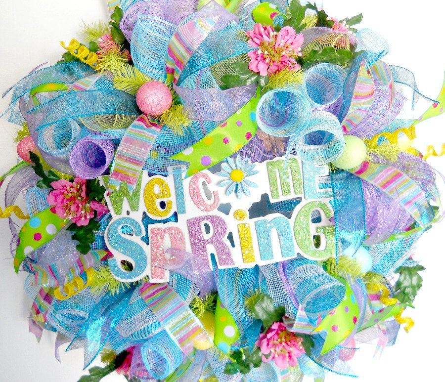 XL Deco Mesh Spring Outdoor Wreath by ArtificialWreaths on Etsy, $92.00