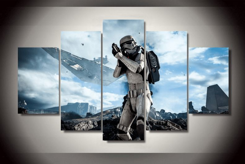 5 Panel Framed Star Wars Stormtrooper Canvas Painting