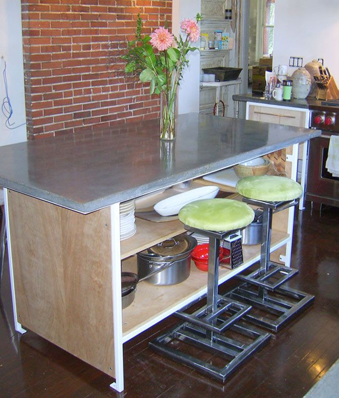 Kitchen Island : Concrete Top. Wood Side Panels, Shelves