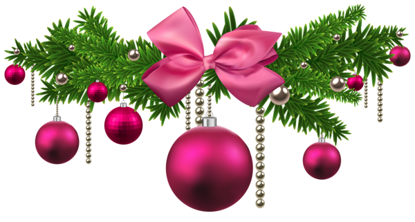 Pink Christmas Balls Decoration PNG Clipart