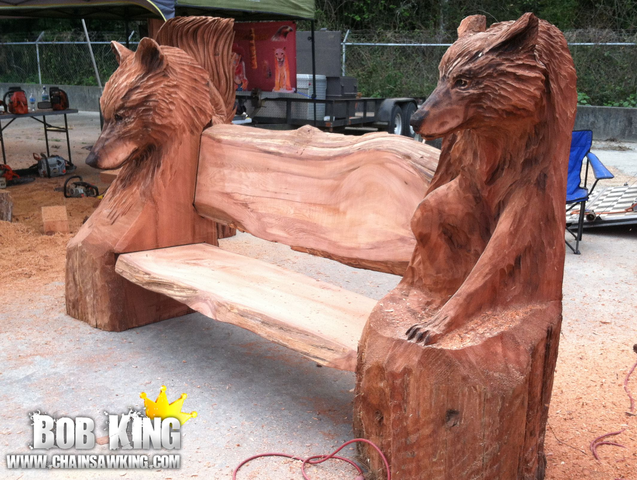 Chainsaw carving by bob king wolf bench perfect garden