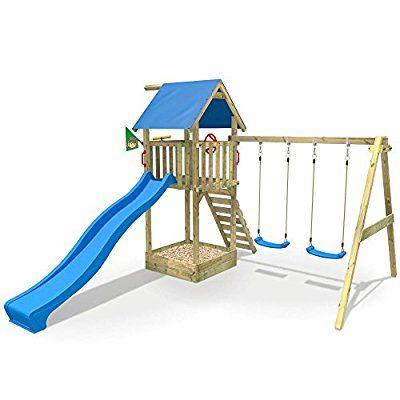 WICKEY Aire de jeux Smart Empire Portique de jeux en bois Maison d - Maisonnette En Bois Avec Bac A Sable