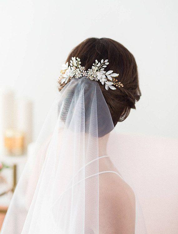 Rose Gold Wedding Hair Comb, Flower Headpiece, Bridal Hair Comb, Leaf Headpiece, Flower Hair Comb, Opal Crystal Hair Comb, Flower Hairpiece