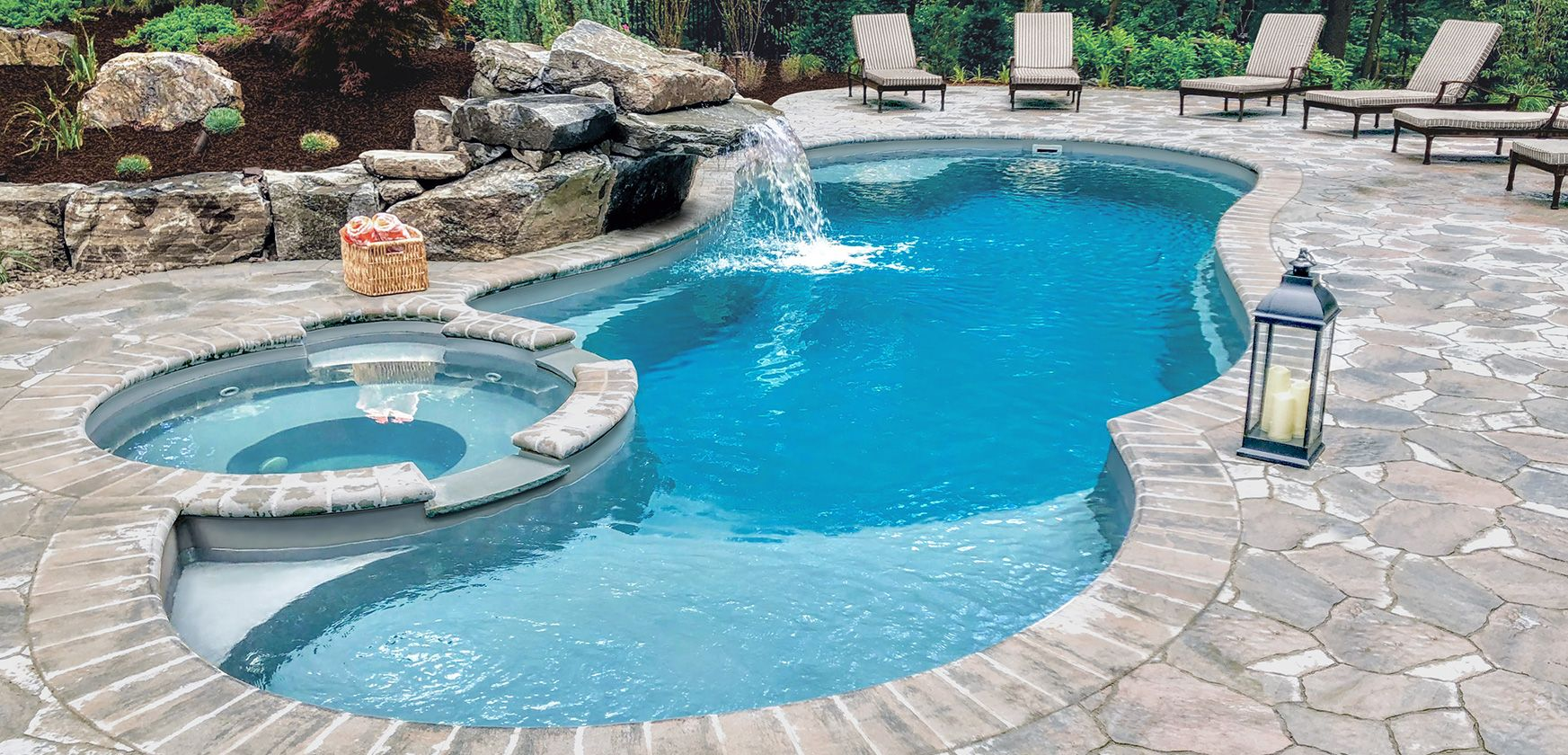 The Allure fiberglass pool with tanning ledge and spa by ...
