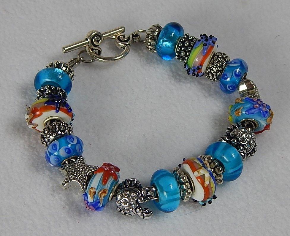 European Style Murano Glass Beads Charm Bracelet Turquoise Blue Star Fish. Craft StorageStorage IdeasBead JewelleryBeaded ...  sc 1 st  Pinterest & European Style Murano Glass Beads Charm Bracelet Turquoise Blue Star ...
