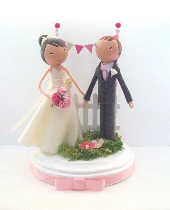 how cute are these customized wedding cake topper clothespin dolls