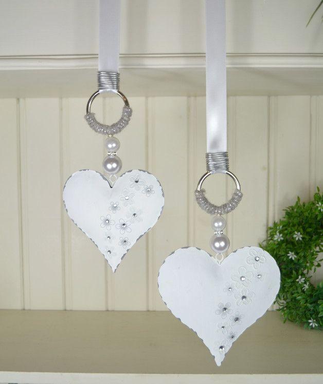 Stern Perlen Silber Eiskristall Metall Weiß Weihnachten: Hallo Zusammen! Herz In Grau-weiß Mit Strasssteinchen