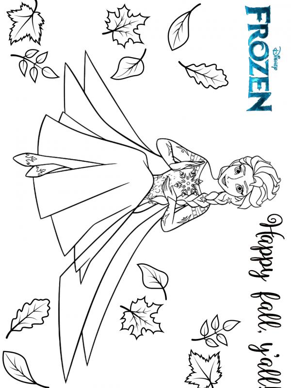 Frozen Elsa Disney Animation Movie Happy Fall Coloring Pages In 2020 Disney Animated Movies Fall Coloring Pages Animation Movie