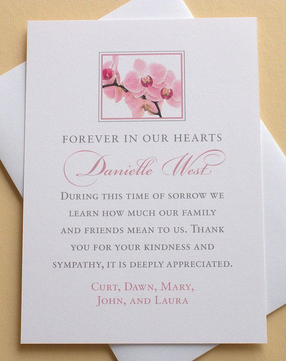 Sympathy Thank You Card with Pink Orchids - Personalized - FLAT ...