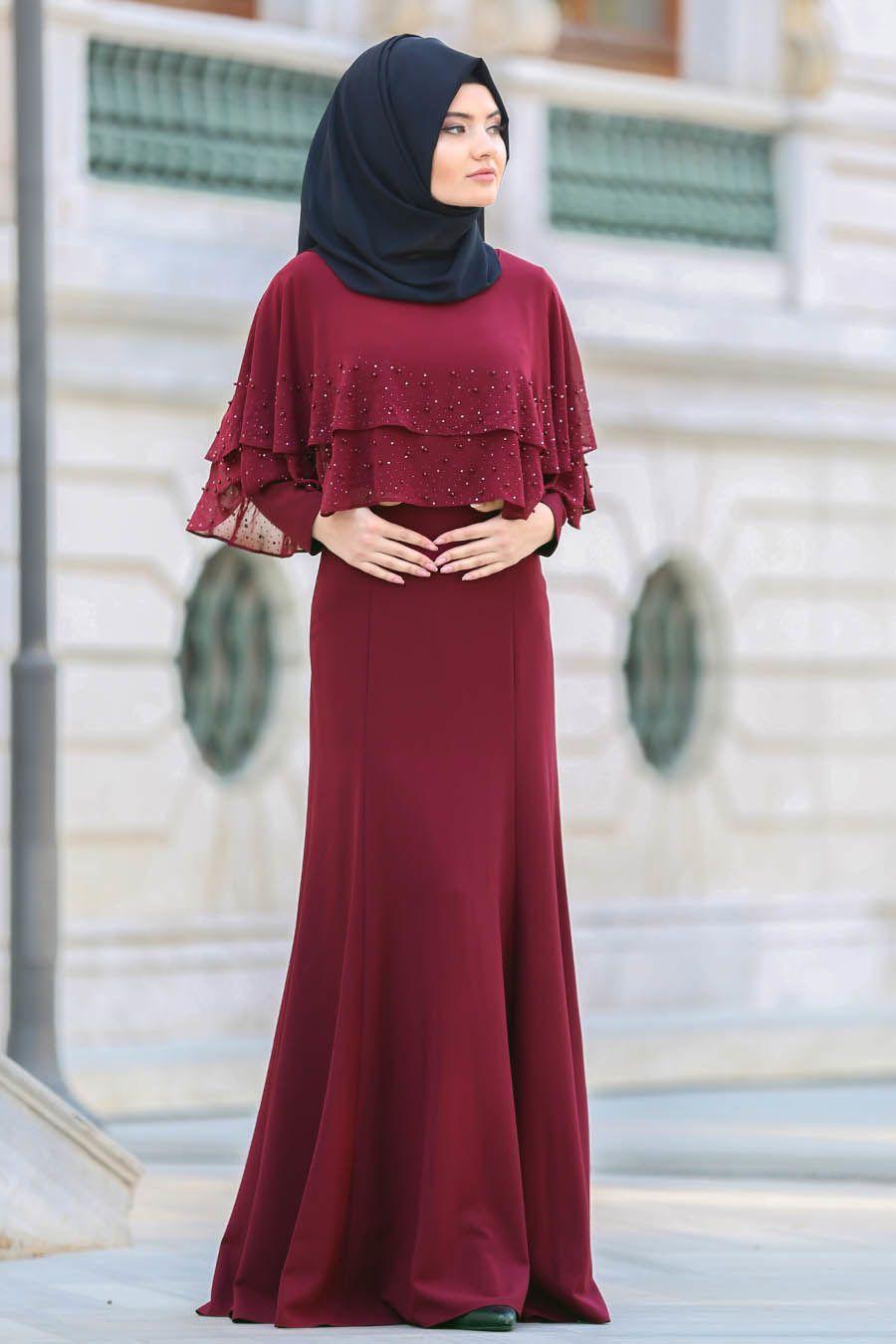 Tuay Pelerinli Bordo Tesettur Abiye Elbise 7251br Tesetturisland Com Elbise Kiyafet Moda Stilleri