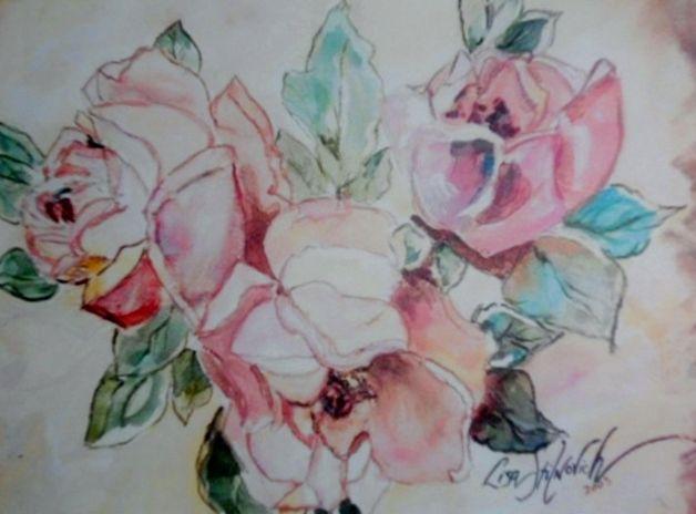 10x14 watercolor 2003' Pastel Roses'   lstilnovich