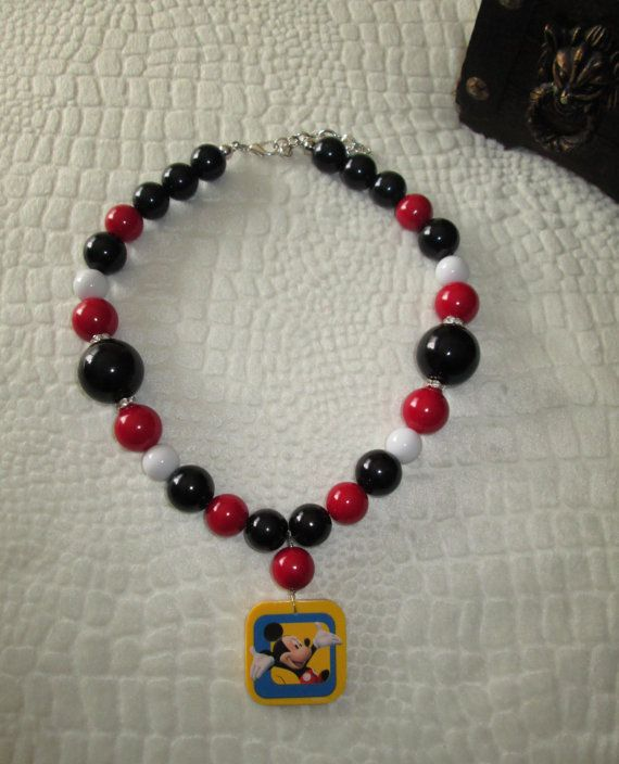 Little Diva's Mickey Mouse Necklace by sparklinggirl on Etsy, $20.00