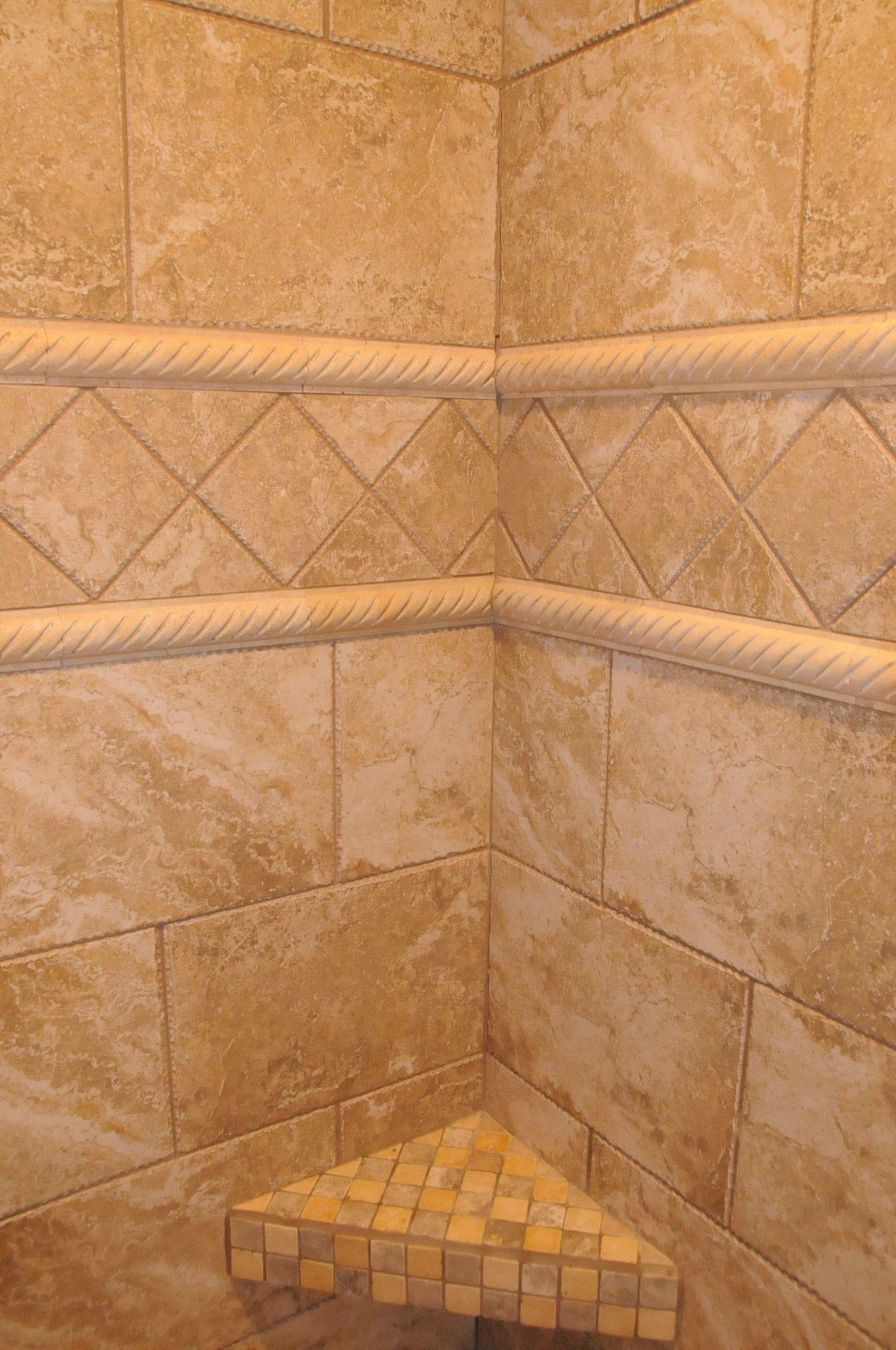 custom tile and mosaic tile shower bench remodel ideas