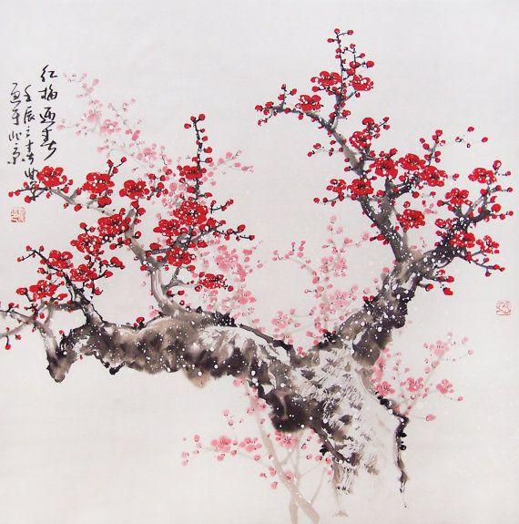 Original Painting Chinese Art Lovely Cherry Blossom Tree No 41 Painted By Qujun Blossoms Art Cherry Blossom Art Chinese Art