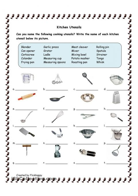 Free Kitchen Utensils Printable | Home School 101 | Kitchen ...
