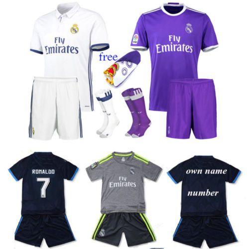 New 2017 #ronaldo bale kit football soccer #short sleeve kid boy 3-14y