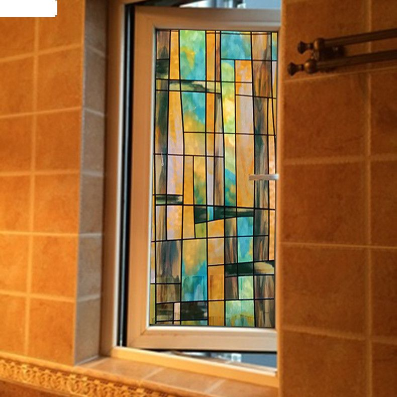 No Glue Electrostatic Window Stickers Stained Glass Sliding Door