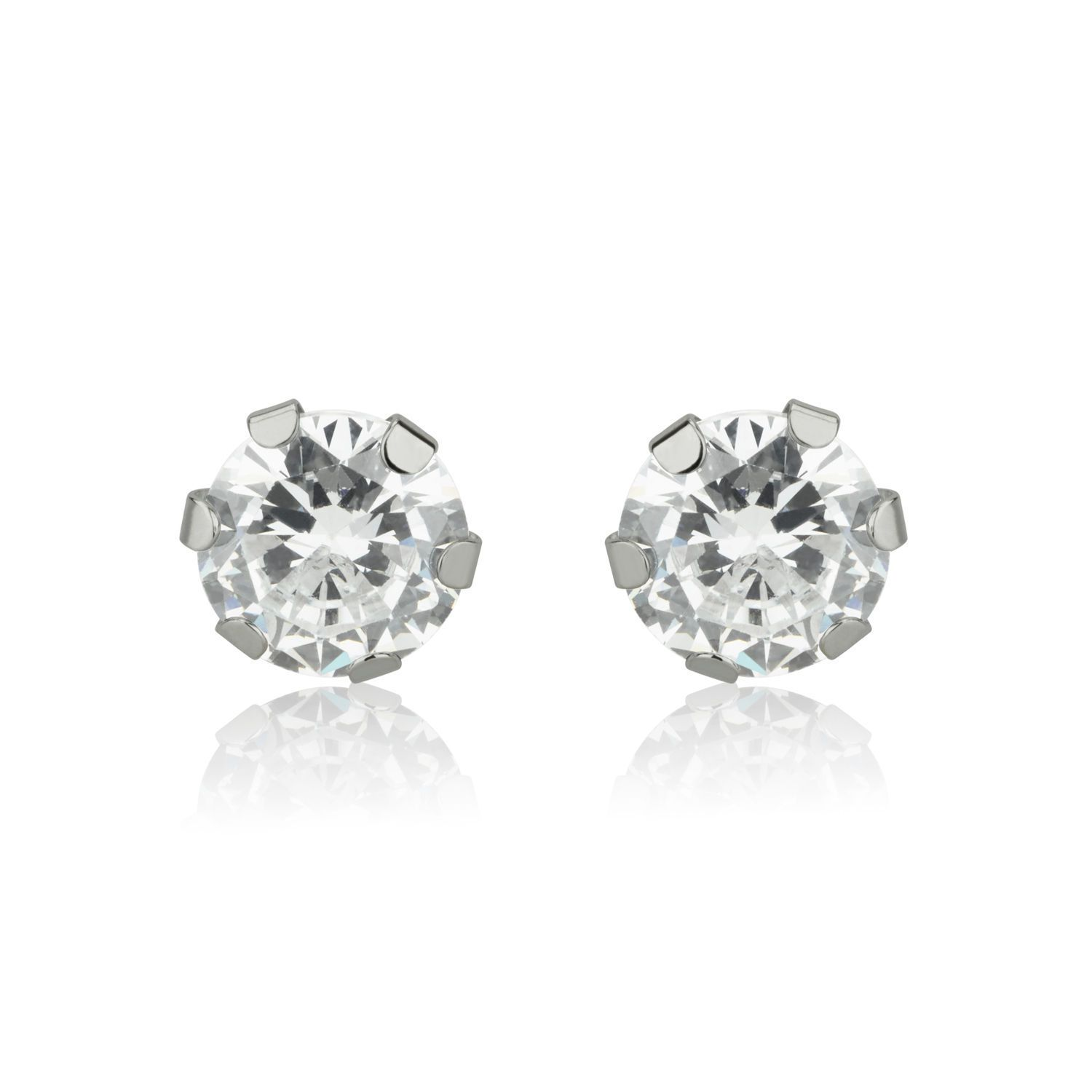 Beautiful stud Earrings made of 14K White Gold The earrings are made