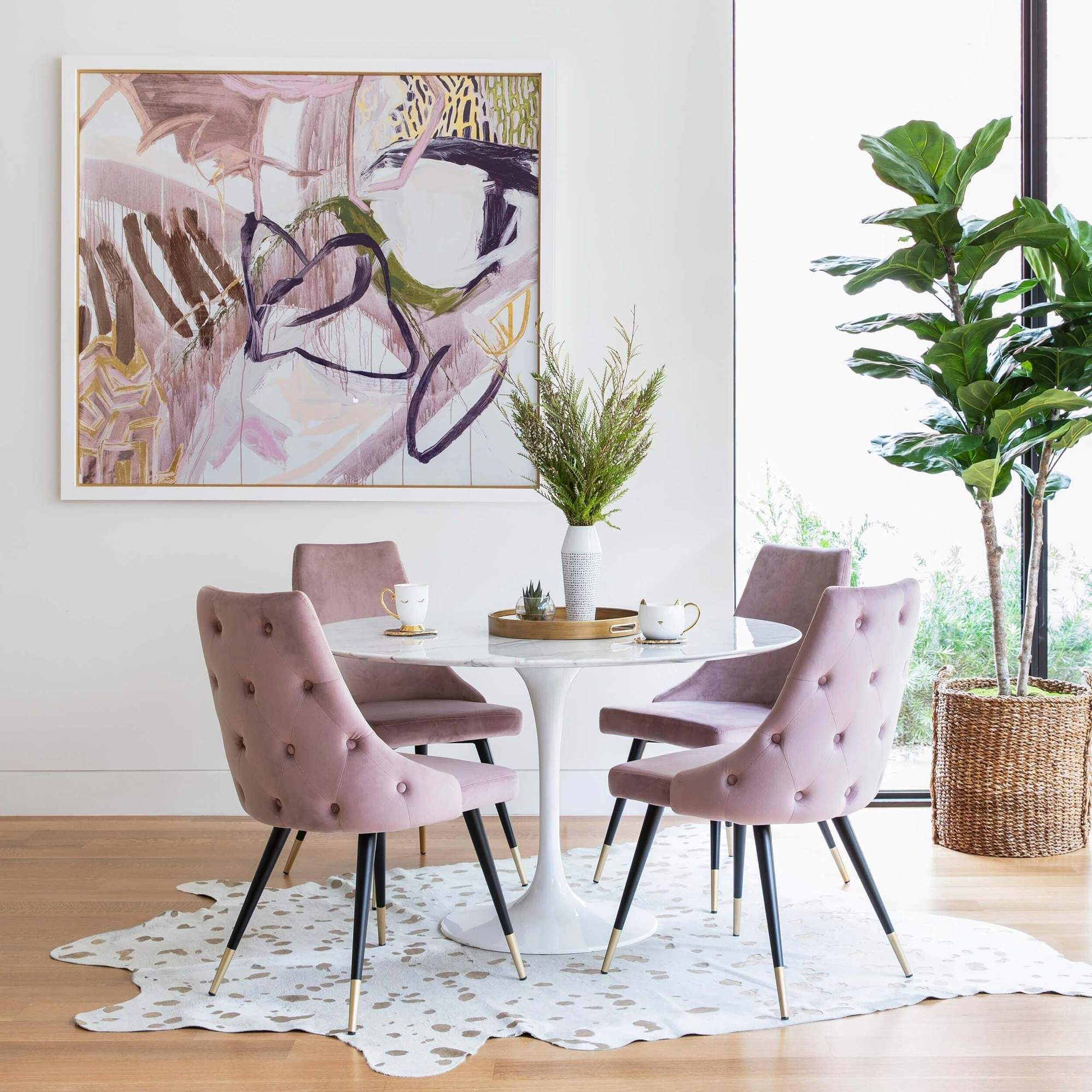 Piccolo Dining Chair, Pink Set of 9   Round dining table decor ...