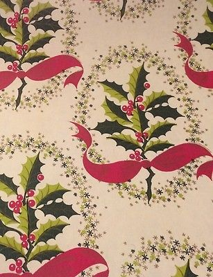 vtg christmas wrapping paper gift department store roll rare holly berries