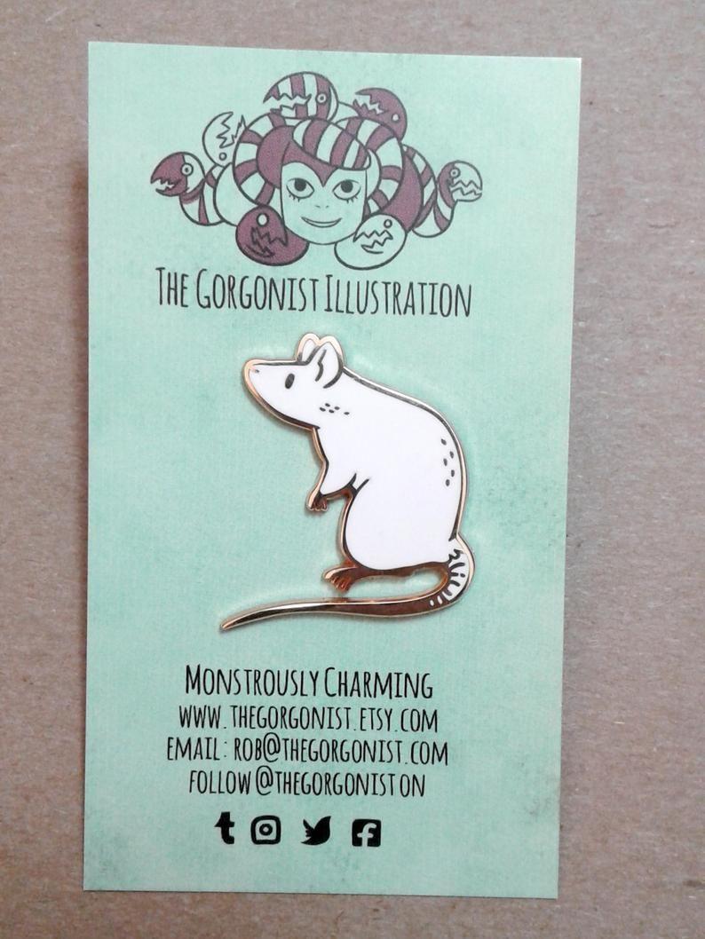 Photo of Curious White Rat rose gold enamel pin