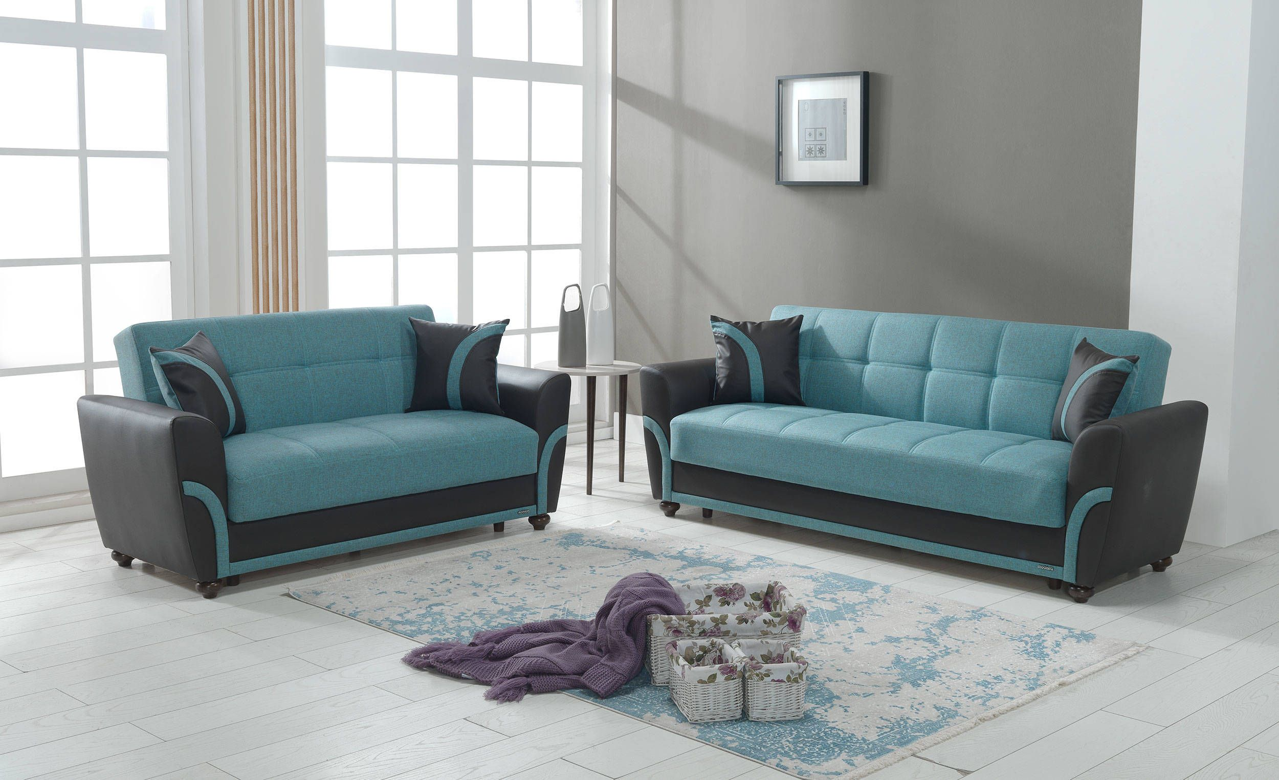 Star City Turquoise Fabric PU MDF Plywood 2pc Living Room Set
