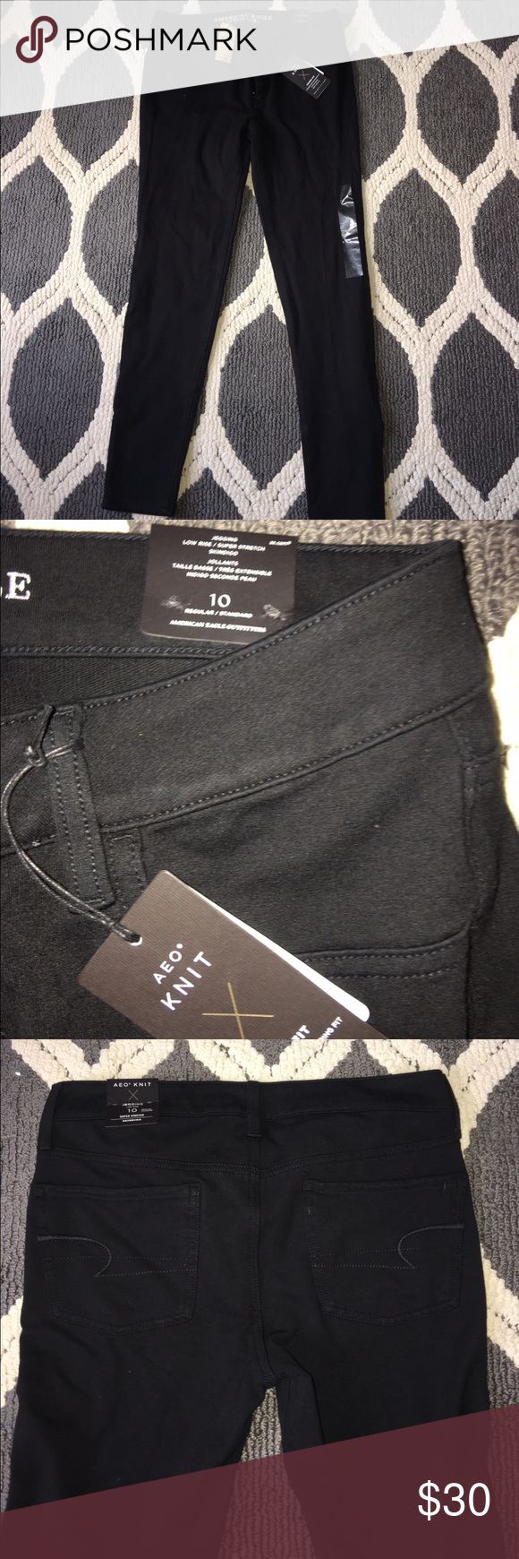 Brand new American eagle black skinny jeggings New! Size 10. Jegging / knit material American Eagle Outfitters Jeans Skinny