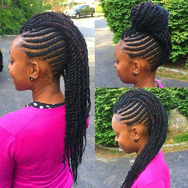 flexible mohawk updo braids hairstyle