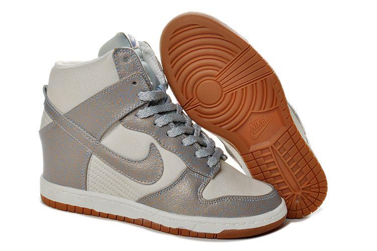 Women's Nike Dunk Sky Hi SneakerBoot Vintage Silver Ice Blue Wedges