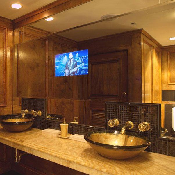 25 Best Mirrored Bathroom Tv S Ideas Mirror Mirror Tv Tv In Bathroom