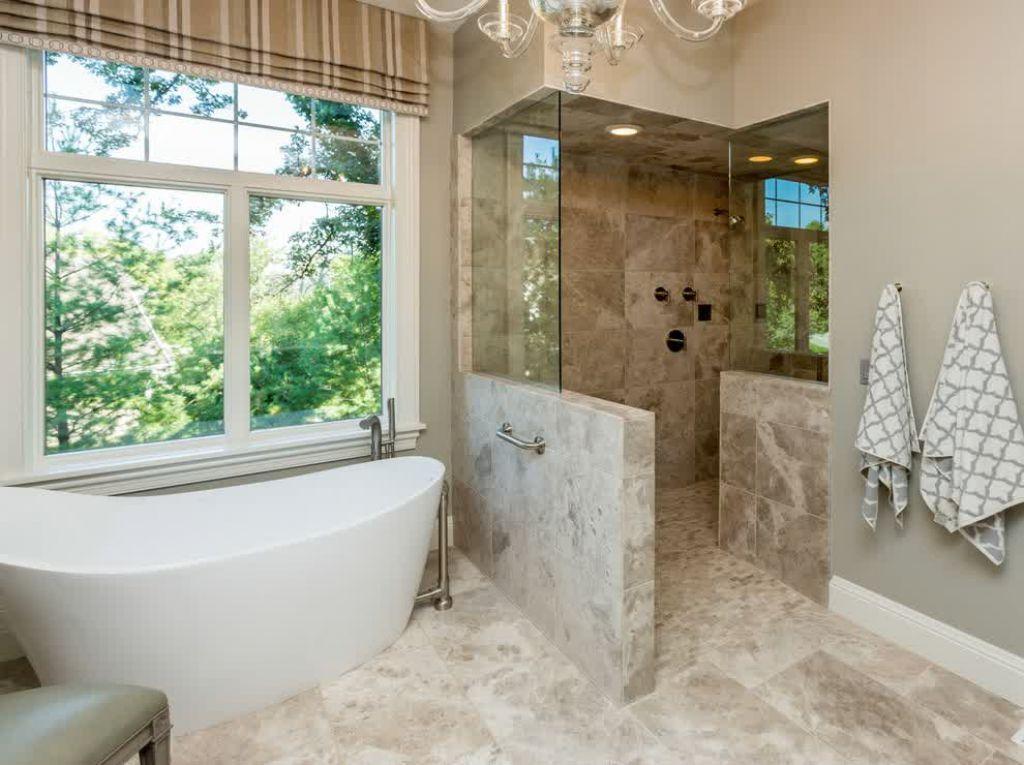 Bathroom With Freestanding Tub And Doorless Walk In Shower Doorless Bathroom Wa Transitional Bathroom Design Small Bathroom With Shower Bathroom Design Small