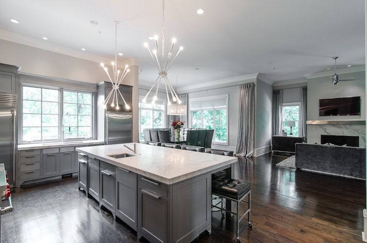 grey cabinets marble countertops Google Search