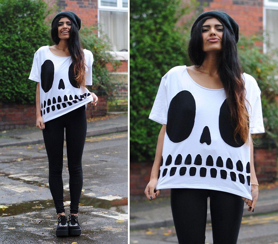 Skull Print Short Sleeve Loose T-shirt