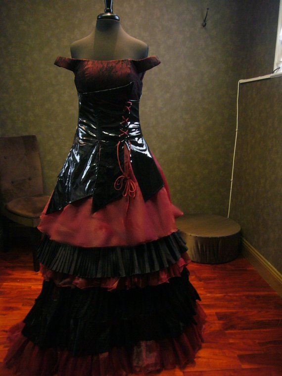 Black and Vampire Red Gothic Wedding Dress with Corset Custom Made ...