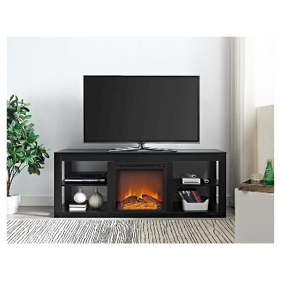 Parson Fireplace TV Console Black Ameriwood Home