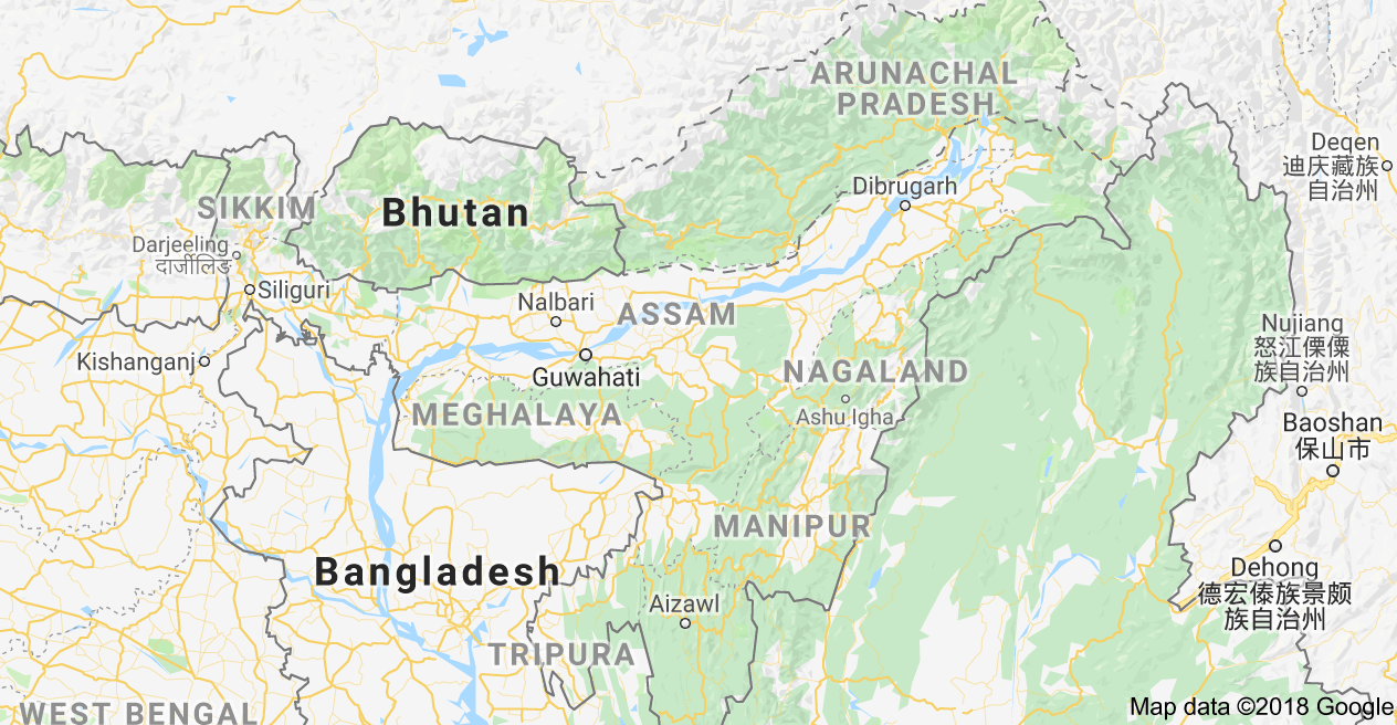Map of Assam, India Map, Assam, Border