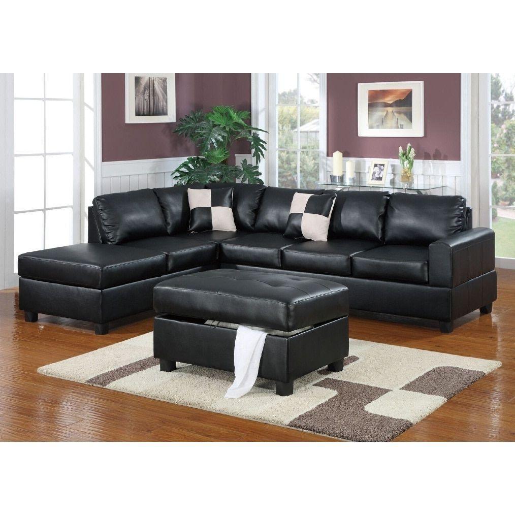 Shonto 3 Pcs Sectional Sofa Set Black