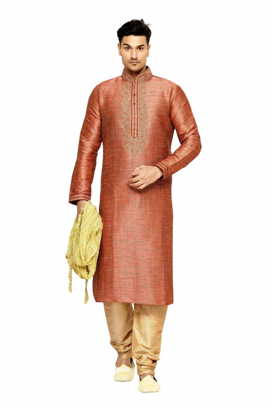 Brown art silk kurta pajama sku indian weddings pinterest